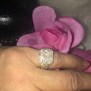 Pinkie ring  cubic zirconia and gold tone